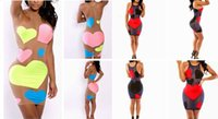 Wholesale Red Mesh Cocktail Dress - Sexy black red heart patchwork mesh dresses women summer O-Neck sleeveless hollow out bodycon bandage maxi cocktail party dress