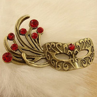 Wholesale Mask Pins - (20 pieces lot) 54*31MM antique bronze plated vintage style metal zinc alloy mask brooch pins jewelry hd2626