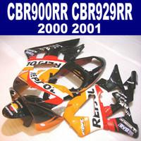 carenado negro cbr 929 al por mayor-7 regalos para HONDA CBR900RR kit de carenado CBR929 2000 2001 negro naranja REPSOL CBR 929 RR CBR929RR carenados conjunto HB4