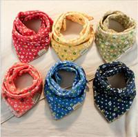 Wholesale Gauze Scarfs - 2016 baby bibs big size cotton towel baby slobber double gauze scarf handkerchief 5 pcs for sales randomly delivered A022106