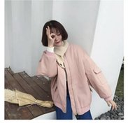 Wholesale Batman Batwing - In 2017 the new Korean style BF, pink jacket, loose fur coat pocket thickening, Batman all-match