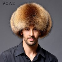 Wholesale Sheepskin Scarves - Wholesale-VOAE Men's Fashion Casual Sheepskin Leather Raccoon Dog Fur Spliced Genuine Real Natural Blue Fox Fur Hat