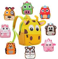 ingrosso zaino sveglio dei bambini-10 bambini di stile 3D Cute Animal Design Zaino Toddler Kid Neoprene School Bags Kindergarten Cartoon Confortevole borsa giraffa scimmia gufo