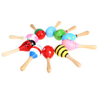 Wholesale musical instruments for children - Kids Children Toy Musical Instrument Maraca Wooden Percussion Instrument Musical Toy for KTV Party New Arrival