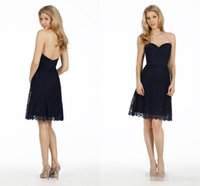 Wholesale Navy Blue Formal Dress Juniors - Navy Blue Lace Bridesmaid Dresses 2015 Cheap Under 100 Homecoming Gowns Maid of Honor Sexy Junior Formal Prom Party Dress Knee Length