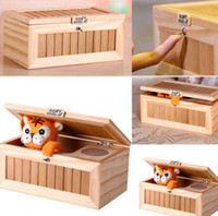 Wholesale wooden toy box wholesale - Useless Box Wooden Machine Don't Touch Tiger Toy Funny Gift Upgrade Wooden Electronic Useless Box with Sound Cute Tiger KKA3602
