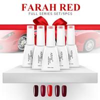 Wholesale Red Manicure - Nail Gel Polish UV&LED Shining Colorful Farah Red Series soak off Varnish elegant Manicure nail gel Xmas gift