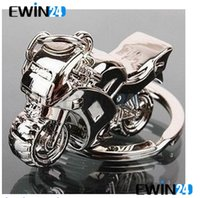 Wholesale New Models Rings - Hot 3D Model Motorcycle Key Ring Chain Motor Silver Keychain New Fashion Cute Gift New 10pcs