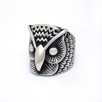 Wholesale European Fashion Style Ring - Manufacturers selling European and American style men's titanium steel rings fashion retro owl ring wholesale SA516