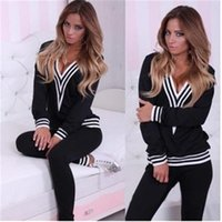 Wholesale Ladies Cotton Long Jumpsuits - Autumn Winter Women Tracksuit Sets Loose Casual Woman jumpsuits Clothing With Striped V-Neck Sexy Ladies Long Sleeve Sweatsuit Track Suit