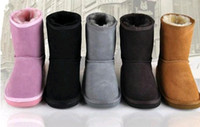 Wholesale Girls Red Boots Size 12 - 2015 XMAS GIFT Classic short Child snow boots girl boy winter boots kids boots cowhide winter boots EU size: 25-34