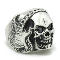 Wholesale guitars china wholesale - Free Shipping Guitar Skull Ring 316L Stainless Steel Man Boy Fashion Jewelry Punk Ghost Skull Music Guitar Cool Ring