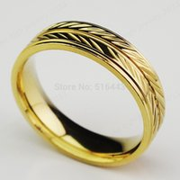 Vente en gros 10pcs 316L Titanium en acier inoxydable Confort Fit Engagement Wedding 18K Gold Band Ring Femmes Hommes Nuptiale Bijoux A168