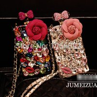 Wholesale Iphone 5s Bow - Wholesale-Luxury Bow Crystal Flower Bling Perfume Bottle TPu Chain Case for iPhone 5s 5 4s 4 6 6 Plus samsung NOte 4 3 2 S6 S5 S4 S6 Edge
