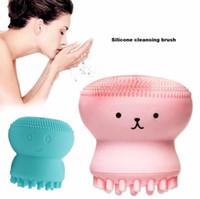 cara de animal adorable al por mayor-Precioso Animal Lindo Pequeño Pulpo Forma de Silicona Cepillo de Limpieza Facial Profundo Poro Limpieza Exfoliante Cepillo de Lavado