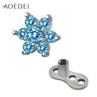 Wholesale Retainer Jewelry - AOEDEJ Flower Micro Dermal Anchor Piercing Jewelry Surgical Titanium Surface Piercing Sex Body Jewelry Retainers Hide It Jewelry