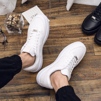 Wholesale Korean Shoes Open Toe - 2017 autumn and winter new men's casual low-top sneakers Korean white shoes lace a piece of hair