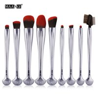 Wholesale maange brush set resale online - Maange Set Makeup Eyeliner Blush Blending Contour Foundation Cosmetic Mermaid Shell Tail Eyes Makeup Brushes Maquillage
