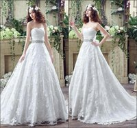 Wholesale cheap corset back wedding dresses - 2016 Romntic Cheap Lace Backless Wedding Dresses Vestios Sweetheart Beaded Ribbon Corset Back Bridal Gowns with Sweep Train