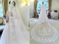 Wholesale Ivory Lace Chapel Wedding Veils - Wedding Veils velo de novia Three Meters Long cathedral 2015 lace Ivory White Two layers Tulle and lace Bridal Veils Purfle Comb