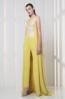 Wholesale Long Sleeve Deep V Short Jumpsuit - african yellow satin jumpsuit evening dresses 2018 formal dresses lace embroidery beaded jewel neckline formal dresses