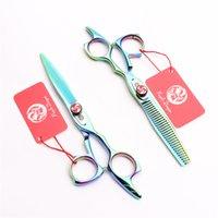 6'' 17.5cm Japan 440C Purple Dragon Professional Human Hair Scissors Cutting Thinning Scissors Hairdressing Scissors Salon Style Tools Z9017