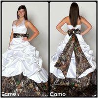 Wholesale Simple Halter Neck Wedding Dress - V Neck Halter Satin Camo Wedding Dresses 2016 Backless A Line Wedding Dresses Beach Bridal Gowns Plus Size