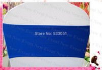 Wholesale Blue Spandex Chair Covers - Wholesale-Royal Blue Color Single Layer Spandex Bands Lycra Band Chair Cover Sashes For Wedding Party Banquet Decoration