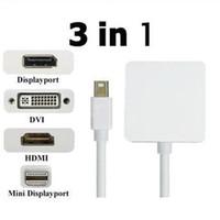 Wholesale Mini Displayport Converter For Display - 3 in 1 mini displayport mini dp to HDMI DVI Display port DP adapter converter cable for Apple macbook 50pcs
