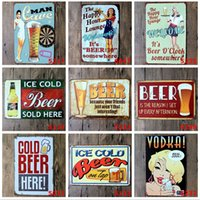 nuova calda birra fredda 2015 con bionda ragazza poster Tin Sign Coffee Shop Bar Ristorante Wall decorazione arte Bar Metal Paintings