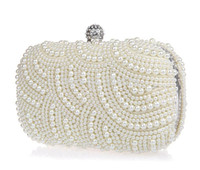 Wholesale Evening Formal Clutch Bags - Sparkly Shining 2015 Lastest Crystal Peals Bridal Hand Bags with Chain Women Wedding Evening Prom Party Bags Bridesmaid Bags