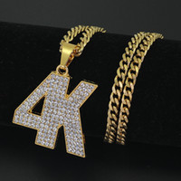 Wholesale Rhinestone 5mm - New Men's Iced Out 4K Pendant Necklace Jewelry 5mm 30inch Stainless Steel Cuban Chain N856