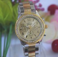 Wholesale Golden Geneva Watches - 50Pcs lot Stainless Steel Watch Brand Geneva Wristwatch for Men Women 5 Colors Rose Gold Golden Silver Coffee
