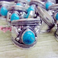 Wholesale Dropping Sale - 5Pcs Lot Hot Sale High Quality Classic Tibet Silver Carved Lace Water Drop Turquoise Nepal Ring Lucky Rings Adjustable Unisex