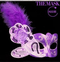 Wholesale Colored Face Masks - Halloween Party Mask colored drawing feather lace silk mask beauty feather princess belle Performing mask of Venice 5color mixs DHL 1000pcs