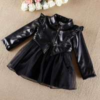 Wholesale Baby Girls Pink Ruffle Coat - 2015 new baby girl PU leather coat child tutu outwear with ruffle gauze girl thick top for fall winter kid fashion jacket wind coat clothing