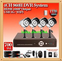 Wholesale Super Effio - CIA- Home 4CH Full 960H 1080P HDMI 3G wifi security DVR Sony Super CMOS Effio-E 700TVL IR camera CCTV camera system with 1000GB HDD