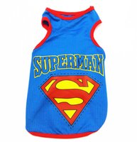 Wholesale Dogs Superman - 100% cotton high quality Fashion Superman Pet Vest Dog Clothes Summer Cool Breathable vest Clothing Factory Price Free Shipping