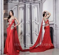 Wholesale Indian Occasion Dresses - Sexy Mermaid Red Evening Dresses Beads 2016 Cheap Long Arabic Indian Dubai Prom Gowns Pleated Plus Size Celebrity Occasion Party Dresses