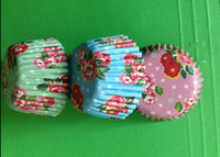Wholesale Cupcake Cases Blue - 2015 new 3000pcs 2.5inch pink blue green rose flowers cupcake liners baking paper cup muffin cases for party