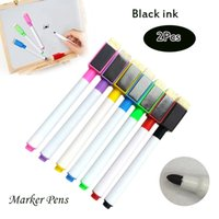 2Pcs Tinta preta Magnetic Marker Stylus Repetido Enchimento White Board Drawing Highlighters DIY Repair Pen Janela Marcadores Chalk with Eraser