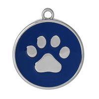 "Wholesale Paw Charm Blue - Charm Pendants Round Silver Tone Dark blue Bear paw Pattern Enamel 34mm(1 3 8"")x 30mm(1 1 8""),10 PCs 2015 new"