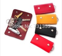 Wholesale cheap candy holders - Wholesale-2015 New Fashion Mini Key Wallets,Cheap Candy Colors PU Leather Bags For Key Holders 5pcs lot