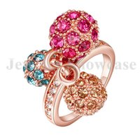 Wholesale Pink Citrine Rings - Dangle Ball 18K Rose Gold GP Princess Cut Pink Blue Citrine CZ Band Ring 1 PC with Gift Box