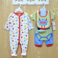 Wholesale babys girls clothes resale online - 2016 Infants Baby cotton Bodysuits Rompers Boys Girls Bodysuits pant Hat socks bibs Set Cotton Babys Clothing colors