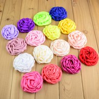 "wholesale large flower brooches 2018 - 25Color 2.95"" Large Headdress Flower Brooches Accessories Rose Buds Satin Fabric Flowers For Hair Accessory 100Pcs lot"