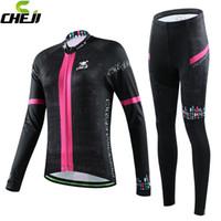 mulheres jersey china venda por atacado-Atacado-Cheji 2015 New Arrival manga comprida Ciclismo Jersey set bicicleta preta sportwear mulheres inverno China mulher térmica roupas de ciclismo