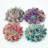 "Wholesale Diy Shabby Chic Flower Headbands - 140pcs 2.5"" chiffon shabby chic frayed flower Rose Trim hair flower baby girls hair accessory diy flower lace flower"