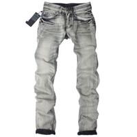 berühmte marke italien jeans großhandel-Großhandel Italien Designer Klassische Mode Jeans Männer, Berühmte Marke Männer Jeans, Hohe Qualität Dunkelgrau Gedruckt Jeans Für Männer