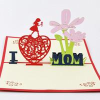 art de carte de papier achat en gros de-Cube vie fleurs fête des mères cartes de vœux Thanksgiving bénédiction salut créatif papier art 3D stéréoscopique 2015 carte 3D fait main 3D Pop